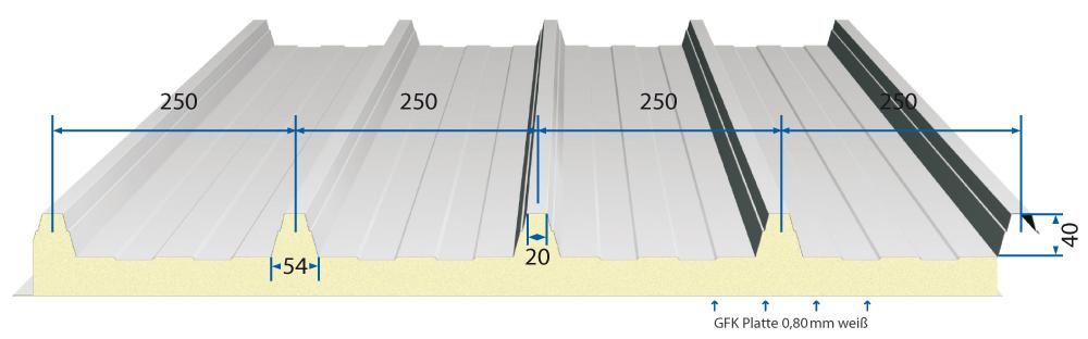 dachpaneel nb iso dach 40 250 agrar deckbreite 1000mm. Black Bedroom Furniture Sets. Home Design Ideas
