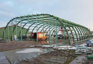 Runddachhalle-Montage-Winter-Nordbleche